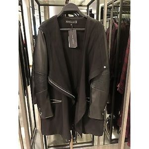 Zara Jackets & Coats - Zara Size S Biker Draped Trenchcoat Leather Sleeve